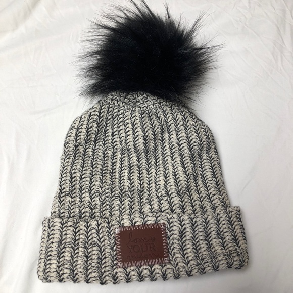 53d0228fa73 LOVE YOUR MELON BLACK SPECKLED CUFFED POM BEANIE